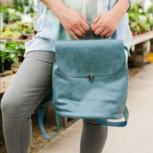 Joy Susan Girl on the Go Backpack in Faded Denim